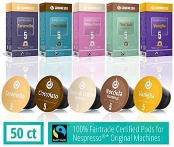 50 Fairtrade Flavored Coffee Capsules