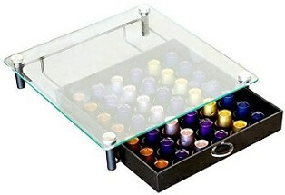 DecoBros Crystal Tempered Glass Nespresso OriginalLine Storage Drawer Holder for Capsules